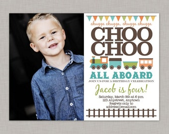 Train Invitation, Train Birthday Invitation, Train Party