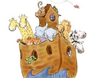 Noah's Ark 5x7 - Children's Art, Nursery Art