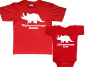Big Brother Little Brother Dinosaur Triceratops shirt set of two - any names - pick your colors!