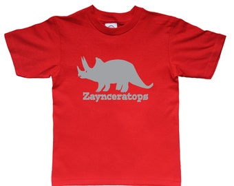 Triceratops personalized shirt for kids - dinosaur name shirt - lots of color choices!