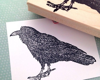 Large Raven Rubber Stamp 6484