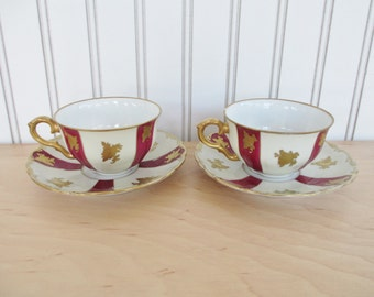Vintage Starorolsky Porcelan Moritz Zdekauer China Teacups and Saucers Set White with Maroon and Gold