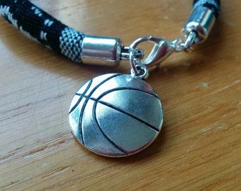 Basket bracelet, basket bangle, basket cuff, sports bracelet, sports cuff, cord bracelet, ball bracelet, basketball bracelet,basketball cuff