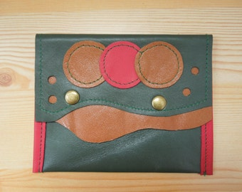 Leather coin purse, coin pouch, green leather purse, coin purse green, leather wallet, circles purse, leather green pouch, green leather