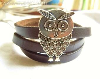 Owl bracelet,owls bracelet,leather bracelet,owl leather cuff,leather cuff,owls cuff,owl cuff,wrapped owl bracelet,brown leather cuff