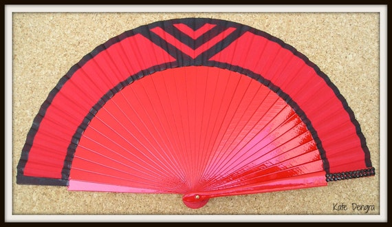 Red Art Deco Chevron Hand Fan