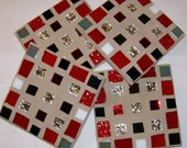Stained Glass Mosaic Coasters Unisex Decor Red Black Silver Gray Home Decor