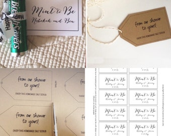Digital Mint to be wedding favor tags, DIY Printable, Bridal Shower, Instant Download