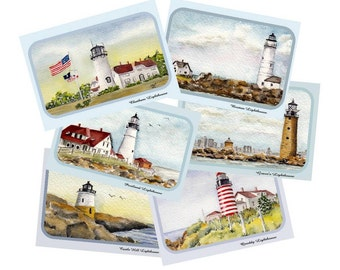 New England Lighthouse Note Cards