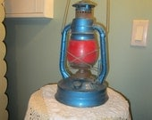 Vintage Dietz Lantern / Red And Blue No. 100 Comet / 1950s Beautiful
