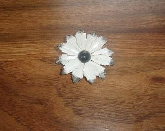 vintage pin brooch white black metal  flower