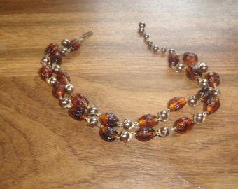 vintage necklace double strand amber glass goldtone