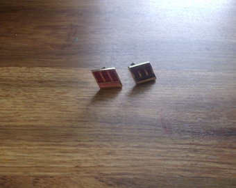vintage pair cufflinks cuff links anson goldtone red enamel