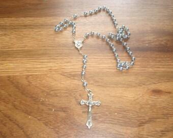 vintage rosary religion catholic church blue  beads