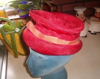 vintage ladies hat red high top
