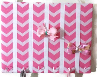 Hair Bow Holder Small, Medium, Large Pink / White Chevron Padded Hair Bow Organizer with Hooks for Headbands