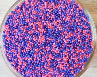 Sprinkles, 3 oz. - Pink and Purple Non Pareils Mix - For Cupcakes - Cookies - Ice Cream - Dipped Pretzels - Cake Pops - Desserts - Cakes