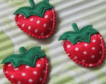 Strawberry Appliques-Padded-22mm