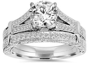 Diamond Engagement Ring, Vintage Diamond Engagement Wedding Ring Set 2CT Antique Hand Engraved With matching Wedding Band 14K White Gold