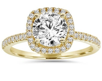 2.00CT Diamond Cushion Halo Engagement Ring 14K Yellow Gold