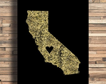 California With Heart Faux Gold Foil Art Print, Minimalist Art, Home, Office, Bathroom, Dorm, Work Decor, Nursery Art, Housewarming Gift