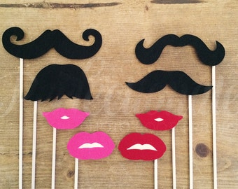 8 Stiff Felt Lips and Mustaches Photo-Booth Props | Gender Reveal Party Props | Oversized Lips