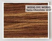 SWISS CHOCOLATE 1237 Weeks Dye Works WDW hand-dyed embroidery floss cross stitch thread at thecottageneedle.com
