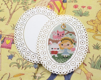 Cross Stitch Sewing Stitch Cards : Set of 2 Buttons Oval Tokens and Trifles Easter Mother's Day 20 ct. perforated paper Christmas Cards
