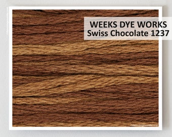 SWISS CHOCOLATE 1237  : Weeks Dye Works WDW hand-dyed embroidery floss cross stitch thread at thecottageneedle.com