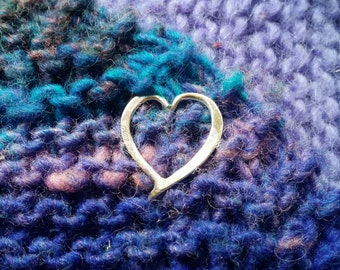 Sterling Heart Mini Tab Closure for Knitted, Crocheted or Woven Garments