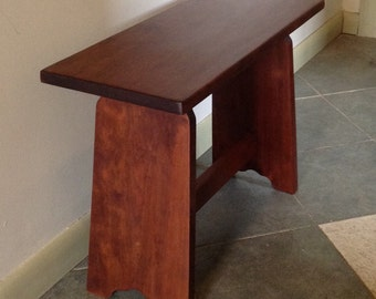 wood bench made from Cherry, hardwood furniture for the home or office