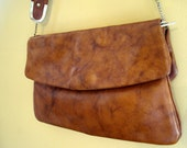 Marbled Brown Leather Handbag With Three Compartments