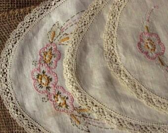 Vintage Doilies, Hand sewn needlework.