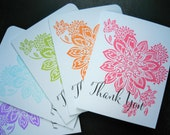 Thank You Notes Set of 5, Floral Thank You Cards, Floral Stationery
