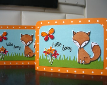Fox Card, Fox Birthday Card, Hello Card, Thank You Card, Thinking of You Card, Spring Birthday Card
