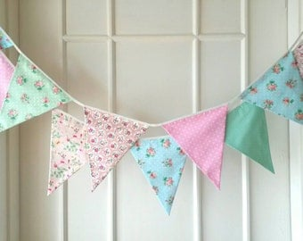 Shabby Chic Fabric Banners, Bunting, Garland, Wedding Bunting, Pennants, Flags, Pink, Blue, Green and Peach- 3 yards