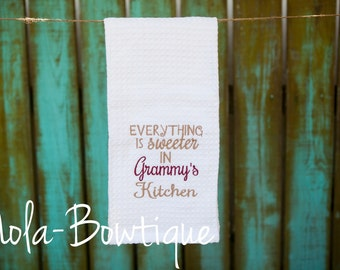 Everything is Sweeter in Grammy's Kitchen Dish Towel, grammy dish towel, mother's day gift