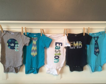 Boys Personalized Onesie Set, Perfect for Baby Shower Gift or Decoration - Whales and Chevron