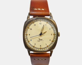 Vintage Retro Handcraft Wrist Watch with Leather Strap ///  LogB - Perfect Gift for Birthday, Anniversary