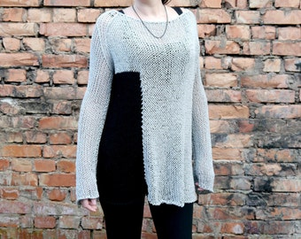 Loose Knit Sweater, Oversize Knitting,  Knit Sweater, Loose Knit Summer Sweater, Women's Clothing,