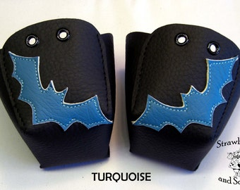 Black leather Roller Derby skate toe guards with Bats