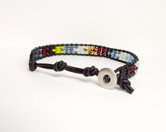 Men's Blues and Black Leather and Glass bracelet