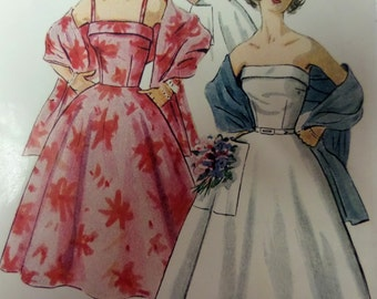 1953 Fitted Bodice Strapless Dress & Stole Pattern ~ Simplicity 4302 Miss Size 16 Bust 34. 1950's STRAPLESS DRESS PATTERN at WhiletheCatNaps
