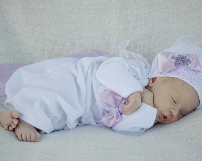 Newborn Girl Layette gown sleeper take me home outfit Lavender purple Newborn thru 3 months