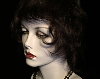 HUMAN HAIR WIG Adult size Brunette at Gothic Rose Antiques