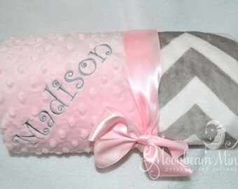 Minky Chevron Baby Blanket -  Gray and Pink Personalized - Monogrammed Baby Blanket Girl, Soft Zig Zag