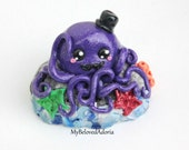 Polymer Clay Figurine- Sparkly Purple Octopus on Rock with Top Hat- Ready to Ship