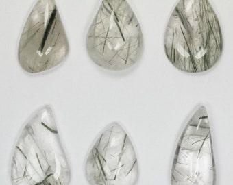 Tourmaline and Actinolite Needles in Quartz, 6 Cabochons 259 Carats
