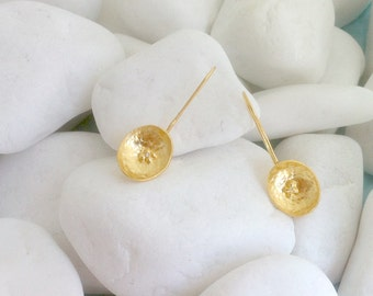 Gold plated 985 silver forged earrings - 21399