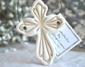 Imprinted Ornate Salt Dough Cross Ornament